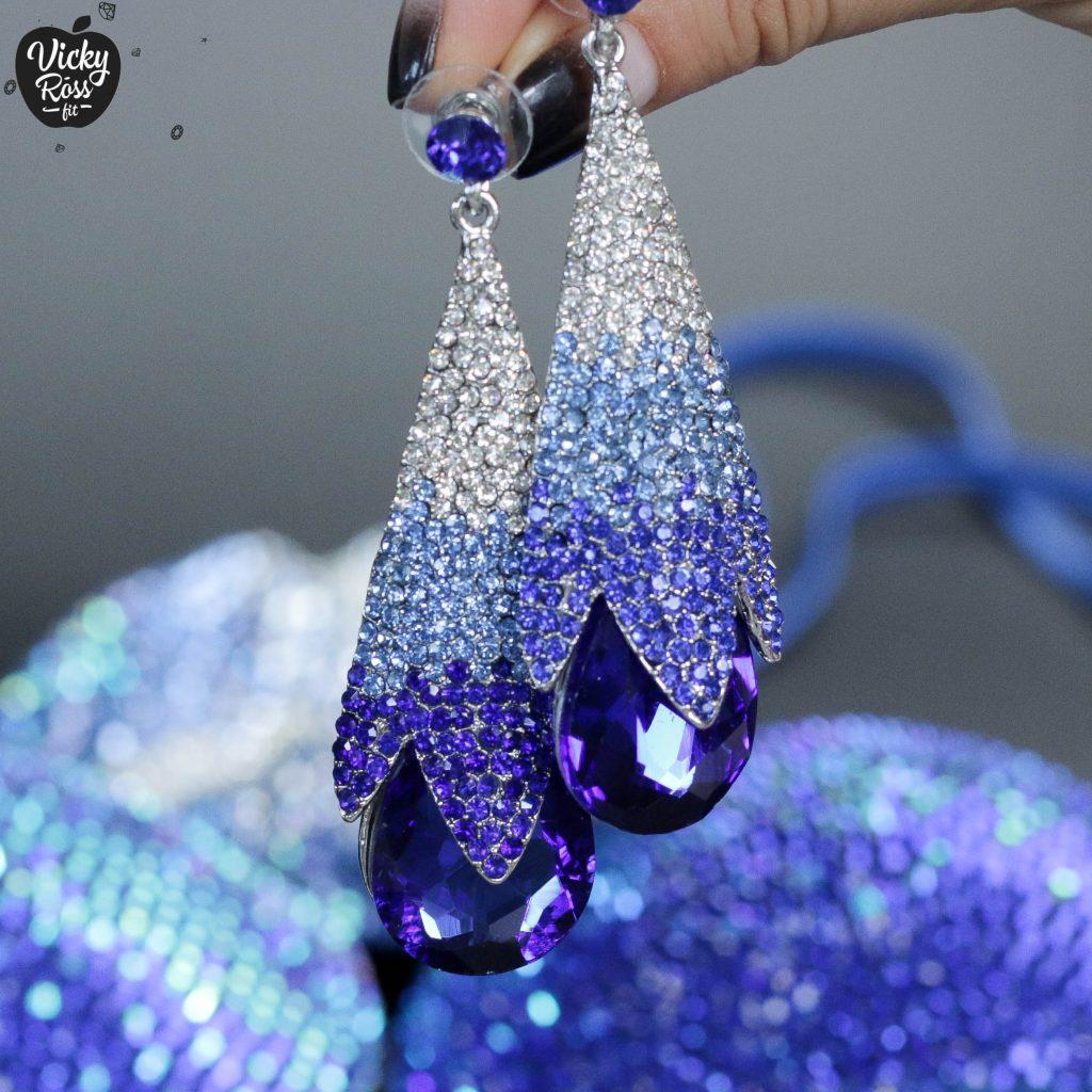 Blue Ombre Bikini Competition Earrings | Blue Diamond
