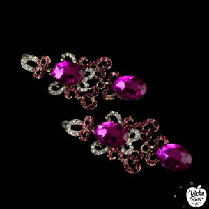 pink rhinestones sparkling earrings