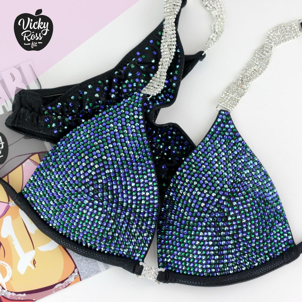 Emerald Blue Crystal Competition Bikini Suit