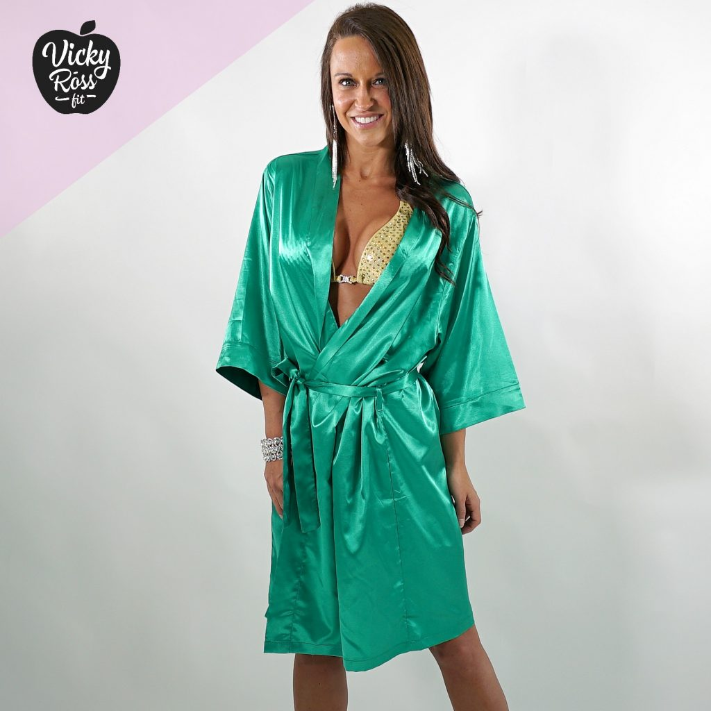 Satin Emerald Competition Robe | Bikini & Figure Competition Robe