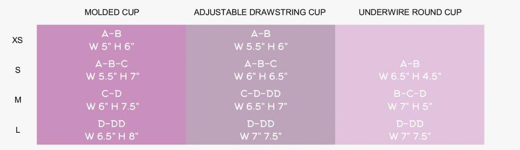 bikini cup size chart