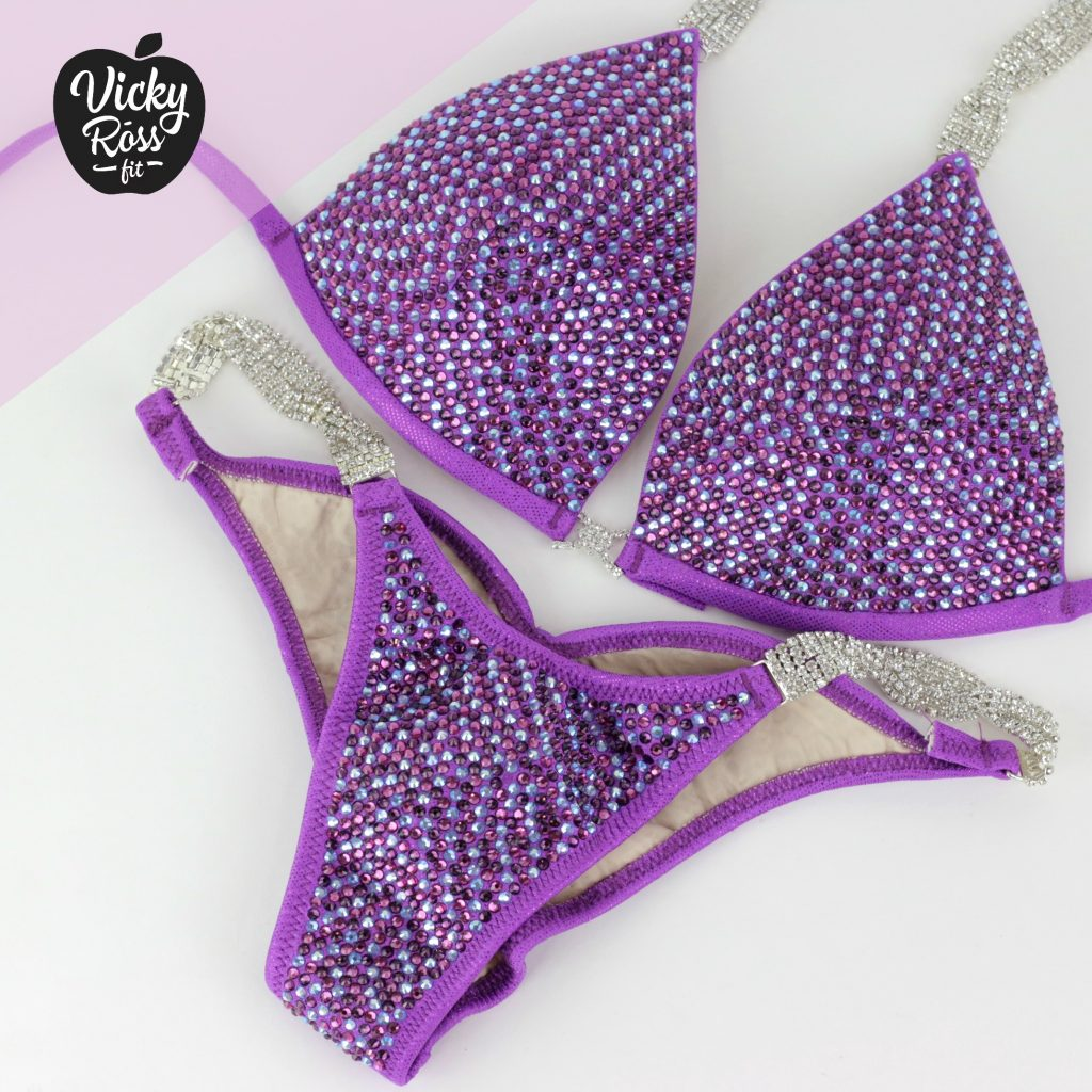 32f9eb069e Violet Crystal Competition Bikini Suit | Full Scatter Pro Multi Color -  Vicky Ross Fit