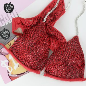 Vampire Red Crystal Competition Bikini Suit