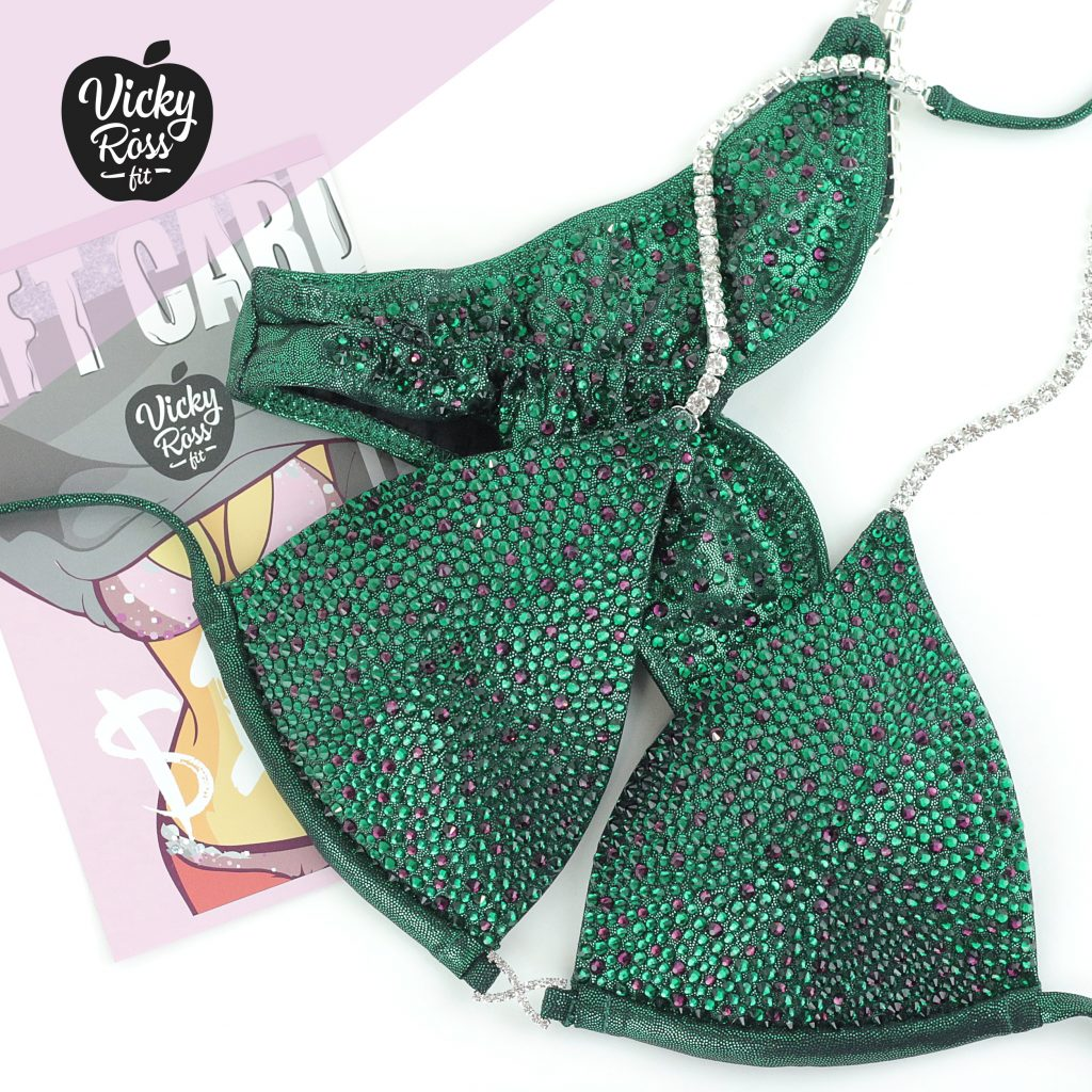 bae3628d4a350 Green Sparkle Crystal Competition Bikini Suit | Full Scatter Pro ...