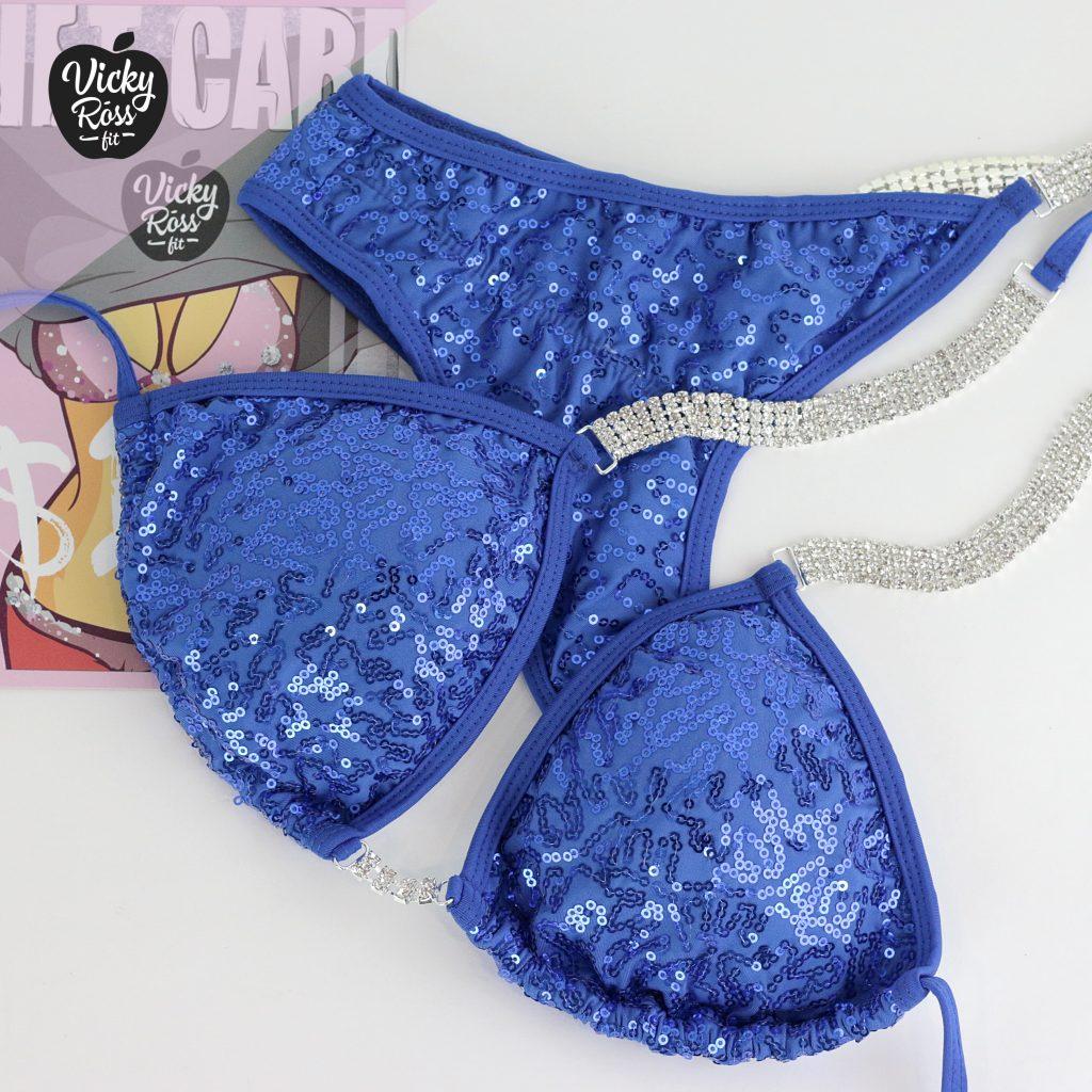 Blue Competition Bikini Suit NPC IFBB OCB | Sequin