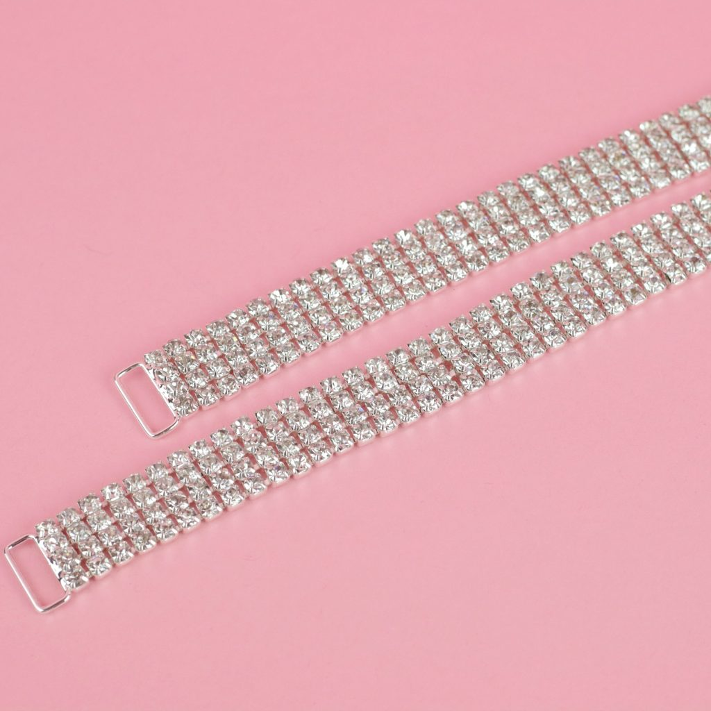 Crystal Silver Bikini Connectors | Bottom Bikini Connectors