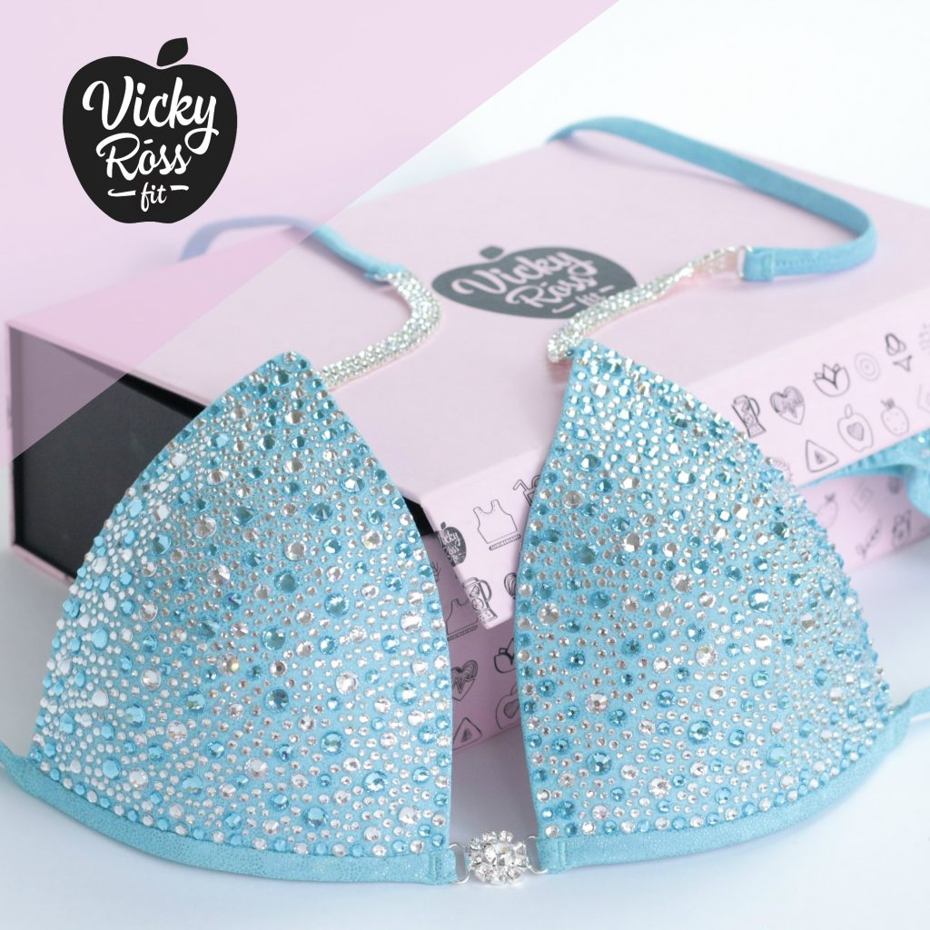 Baby Blue Crystal Bikini Competition Suit