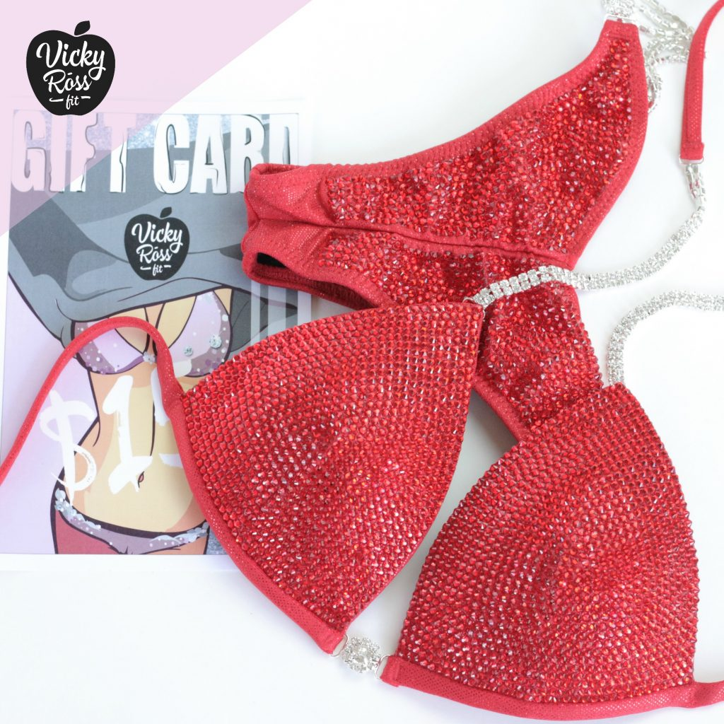 Candy Red Crystal Competition Bikini Suit