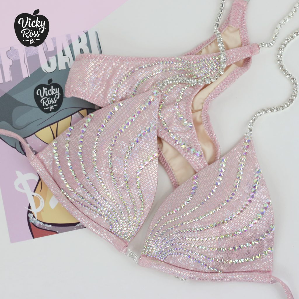 Affordable Competition Bikini Handmade by Vicky Ross Fit | Dusty Pink AB Crystal Wave