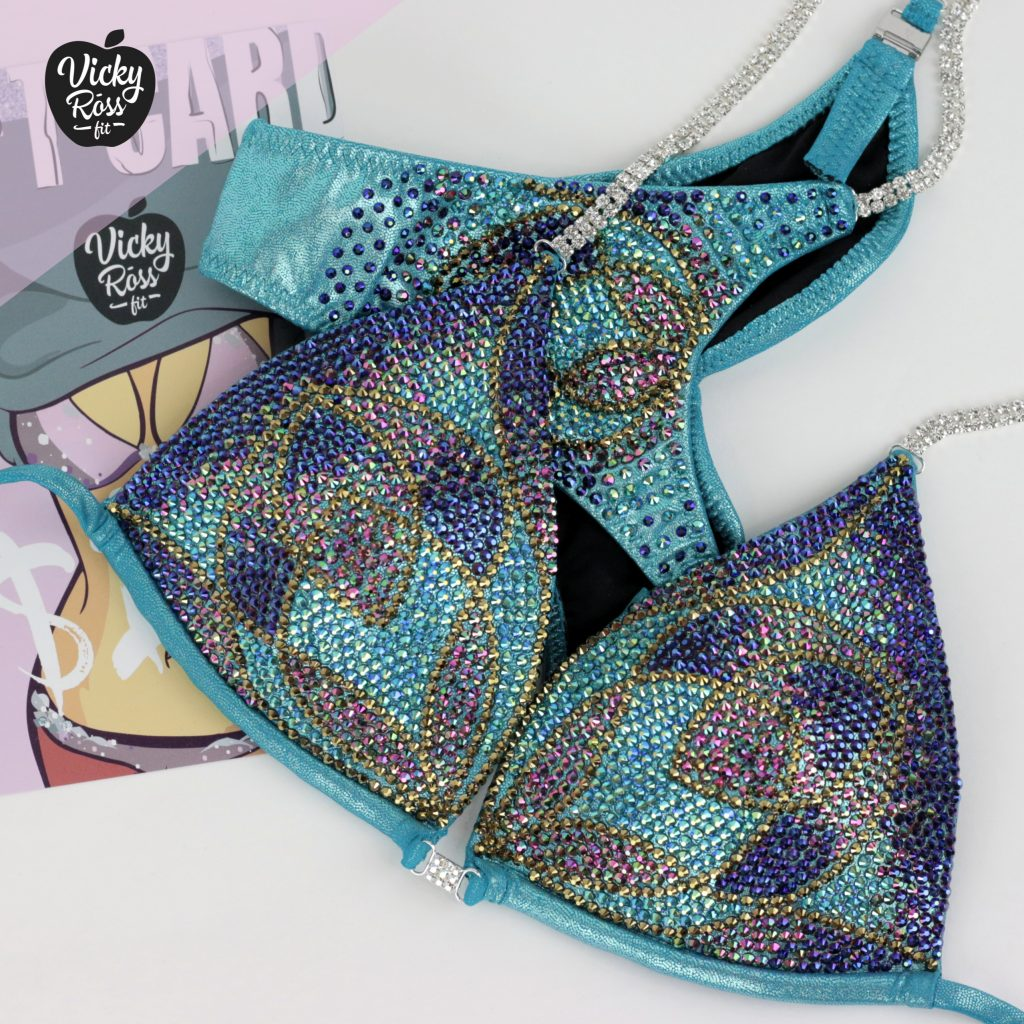 Teal Lily Designer Competition Bikini Suit