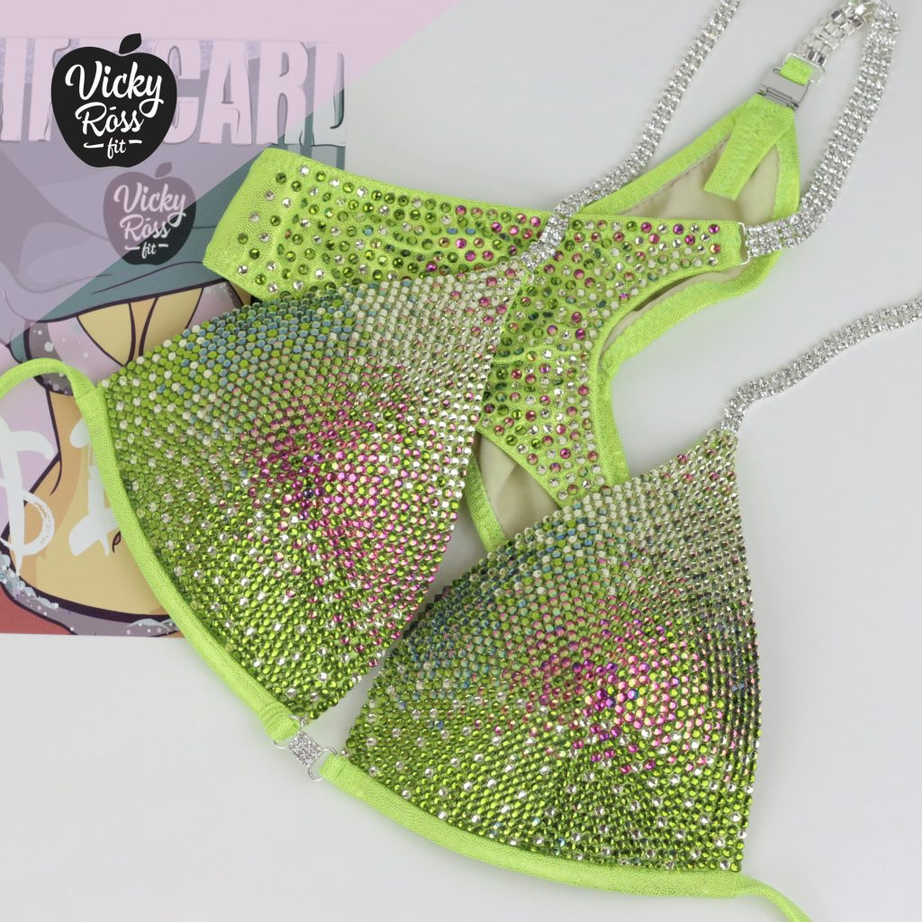 Neon Yellow Ombre Competition Bikini Suit by Vicky Ross Fit | Diamond Deluxe Bikini