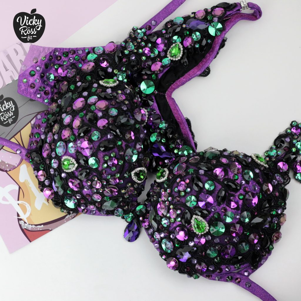WBFF Diva Competition Bikini | Purple Green Bikini