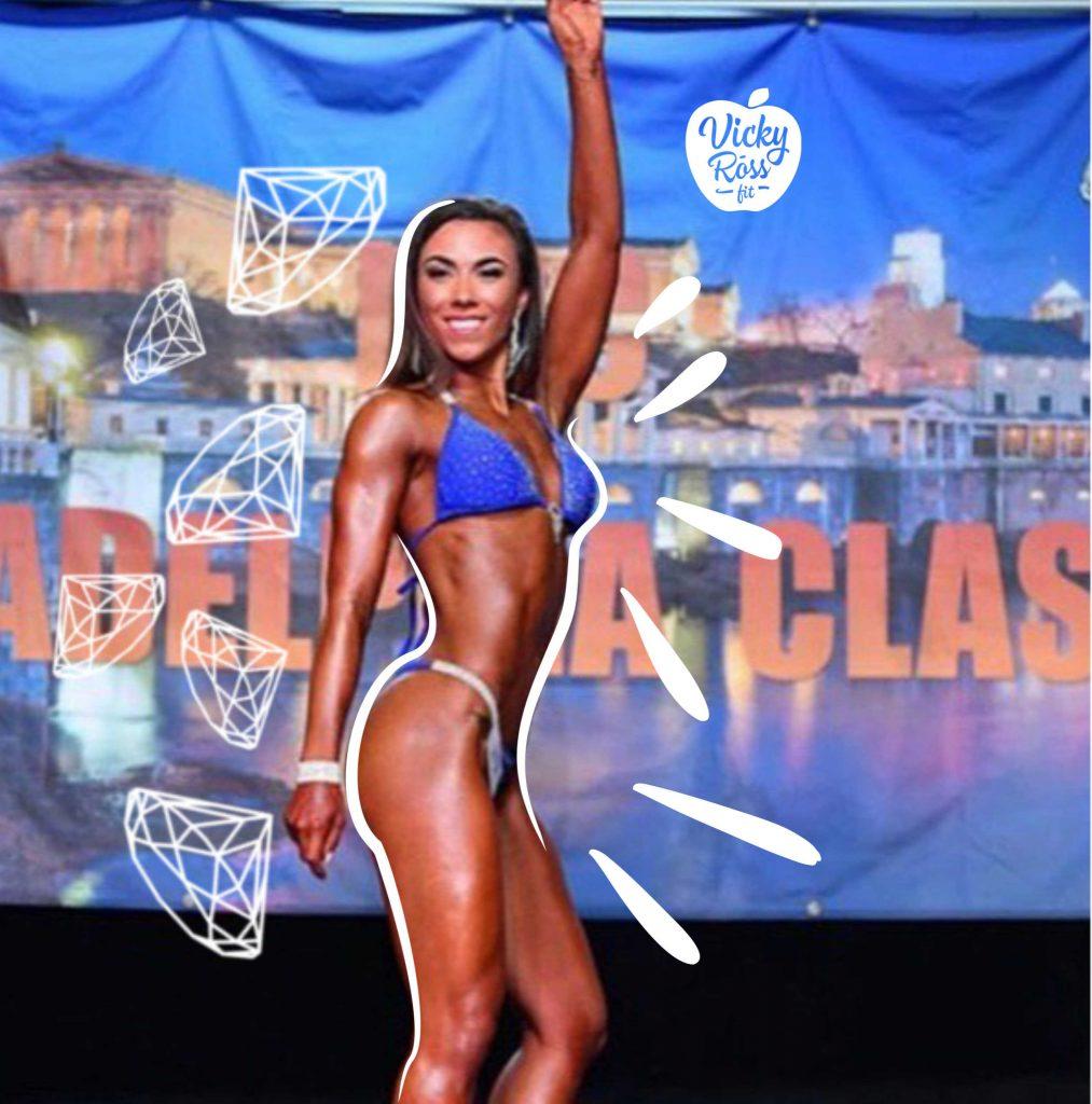 blue competition bikini suit