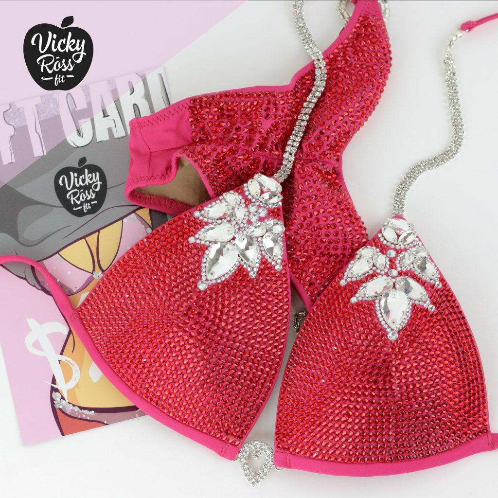 Crystal Bikini Suit | La-la-Diva Ruby Pink