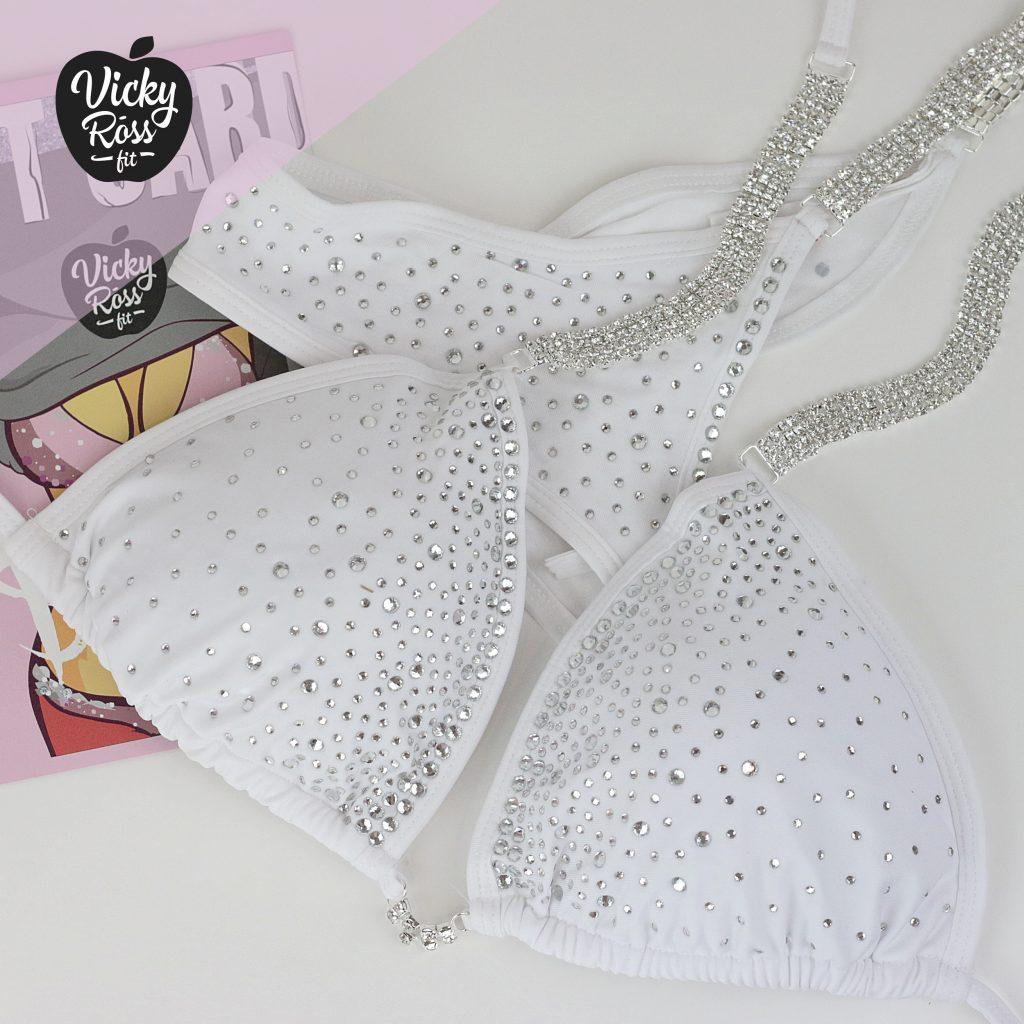 NPC Fitness Posing Bikini | White Competition Suit