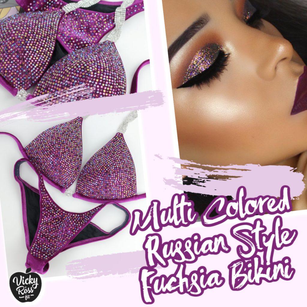 multi colored russian style bikini
