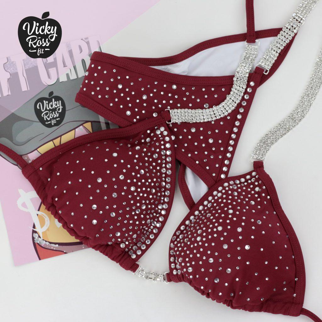 NPC IFBB Fitness Bikini | Maroon Red Fitness Suit