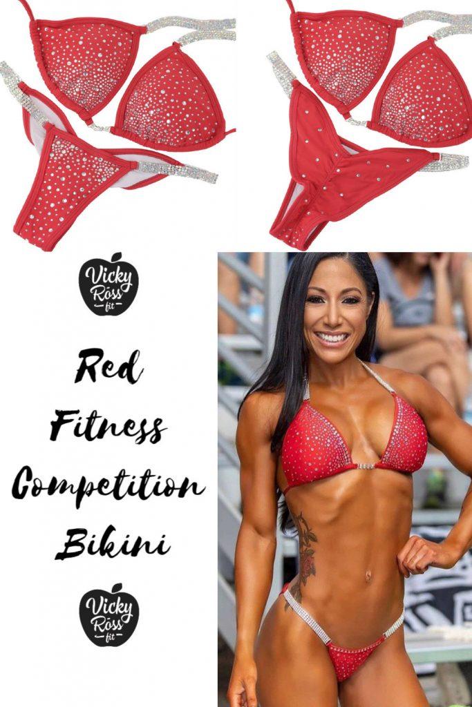 red fitness bikini suit sale