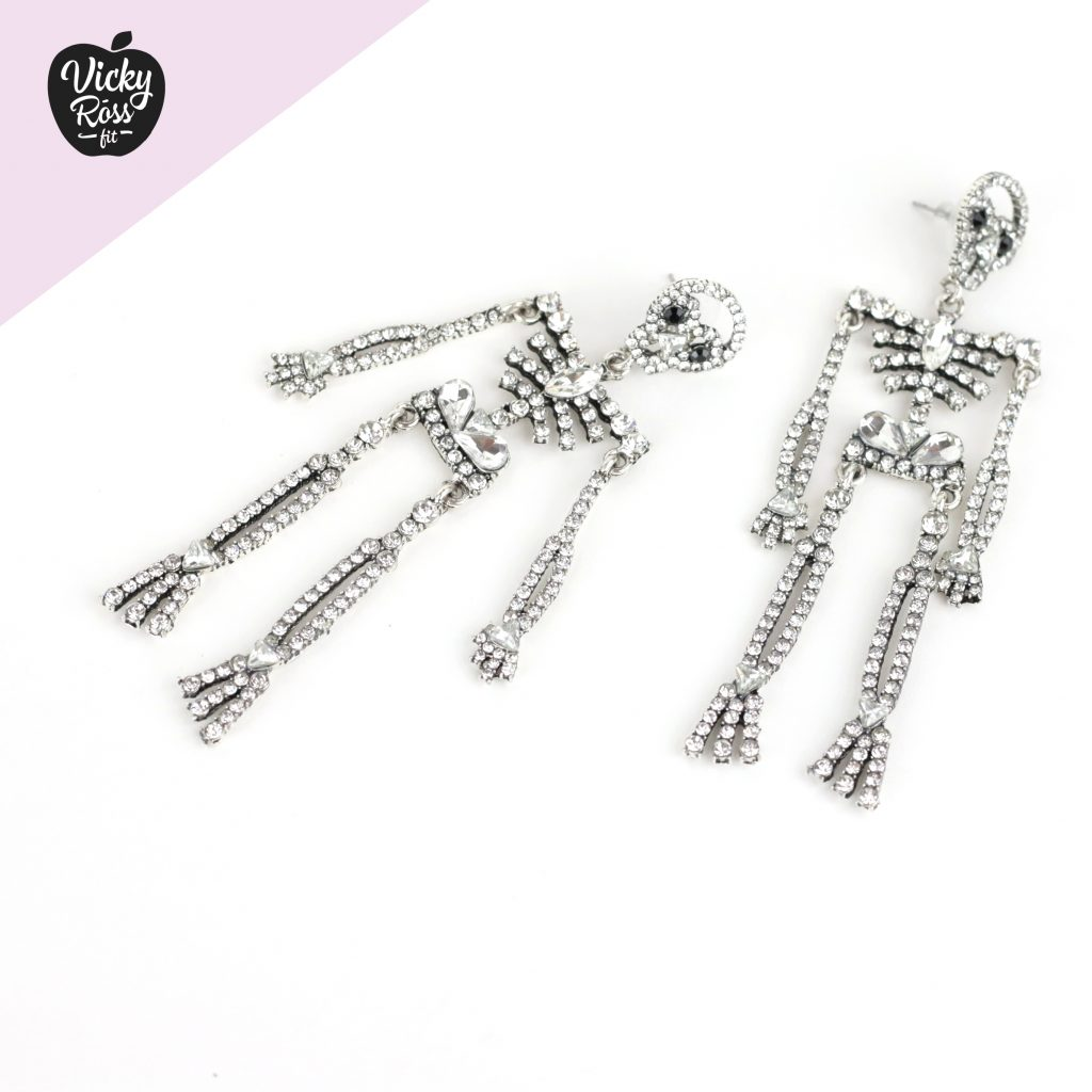 Skull Skeleton Crystal Earrings | Competition Jewelry