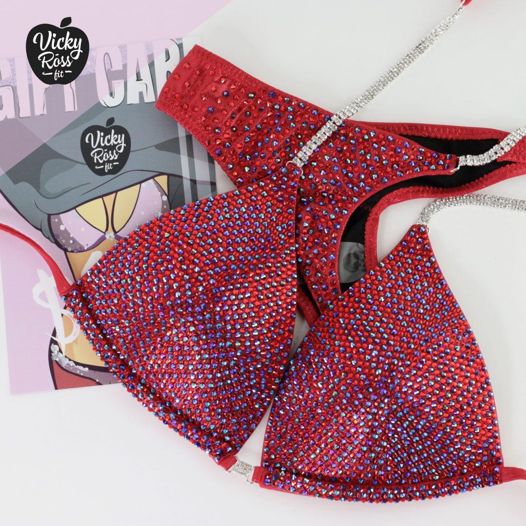 Red Bikini Competition Suit Set | Custom Figure Suits USA